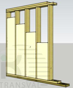 Perete interior case de lemn